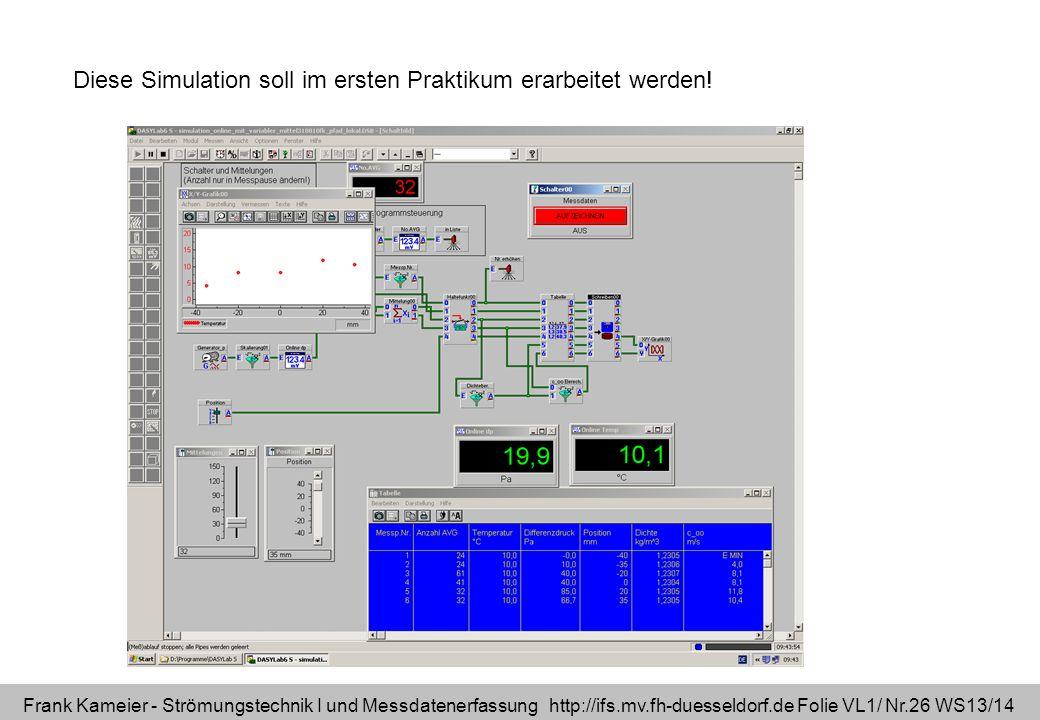 Frank Kameier - Strömungstechnik I und Messdatenerfassung http://ifs.mv.fh-duesseldorf.de Folie VL1/ Nr.26 WS13/14 Diese Simulation soll im ersten Pra