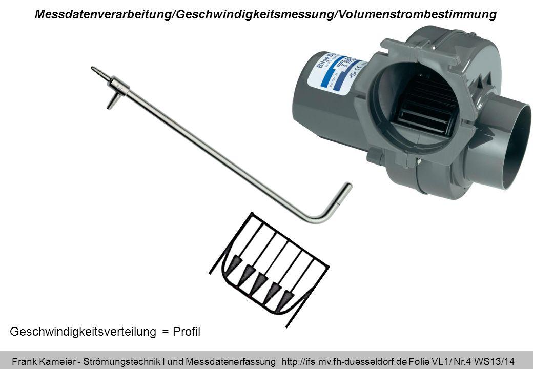 Frank Kameier - Strömungstechnik I und Messdatenerfassung http://ifs.mv.fh-duesseldorf.de Folie VL1/ Nr.25 WS13/14 Geschwindigkeitsprofil_300913.xlsx Berechnung aus Geschwindigkeitsprofil (kreisrundes Rohr) Volumenstromberechnung Zelle (C3+C4)/2=c(r) Zelle (B3+B4)/2=r Zelle (B4-B3)=dr Integration mit Trapezverfahren flächenbezogene Mittelung