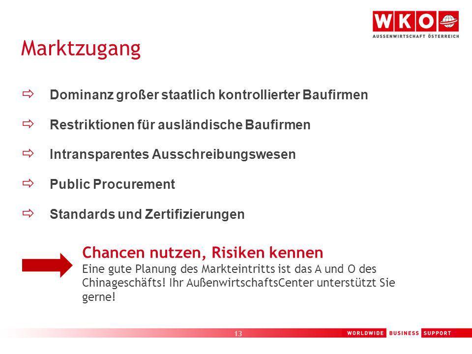 13 Dominanz großer staatlich kontrollierter Baufirmen Restriktionen für ausländische Baufirmen Intransparentes Ausschreibungswesen Public Procurement