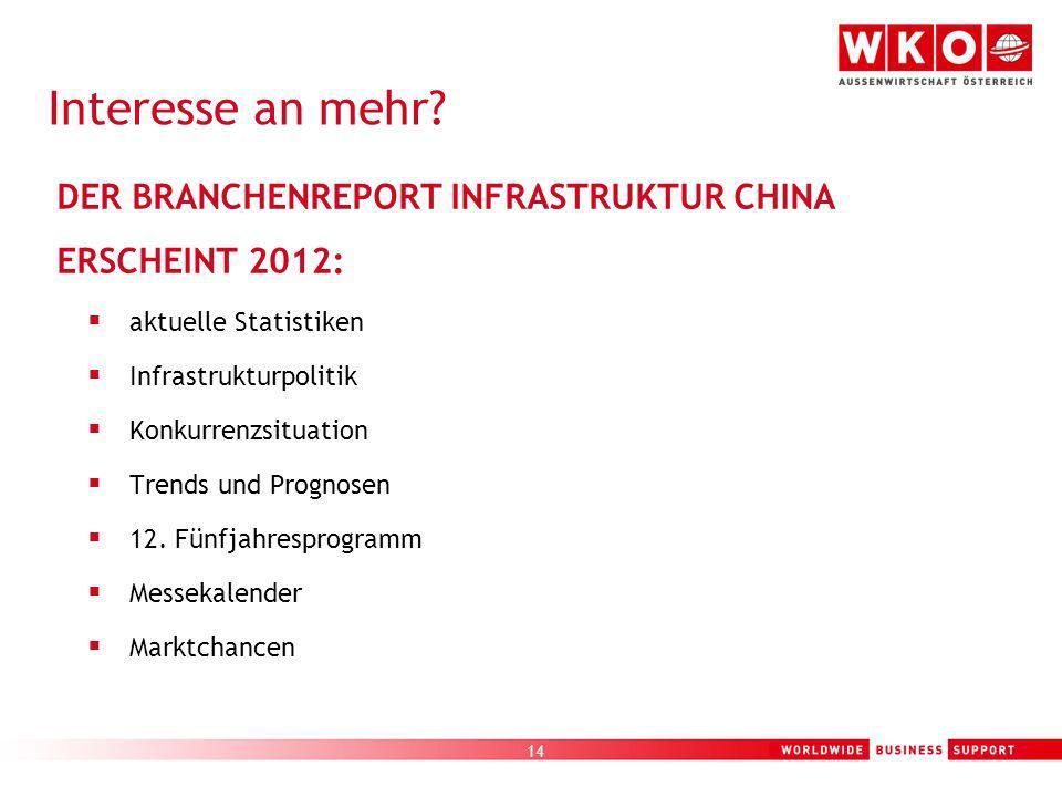 14 DER BRANCHENREPORT INFRASTRUKTUR CHINA ERSCHEINT 2012: aktuelle Statistiken Infrastrukturpolitik Konkurrenzsituation Trends und Prognosen 12. Fünfj