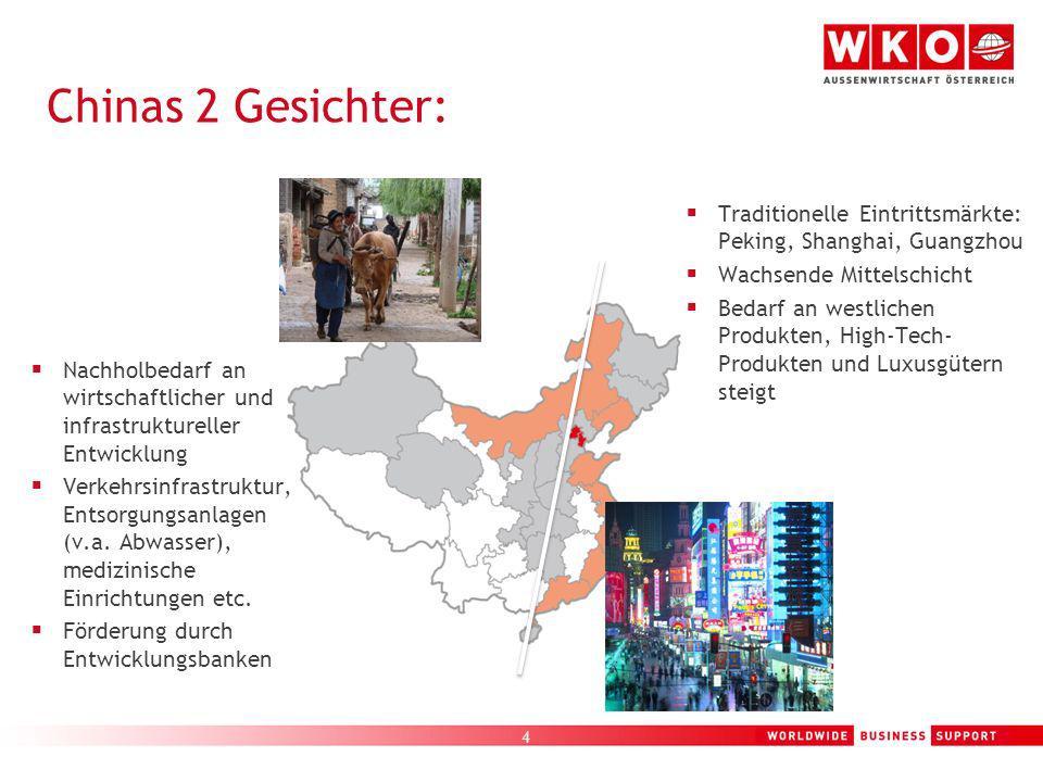 4 Chinas 2 Gesichter: Traditionelle Eintrittsmärkte: Peking, Shanghai, Guangzhou Wachsende Mittelschicht Bedarf an westlichen Produkten, High-Tech- Pr