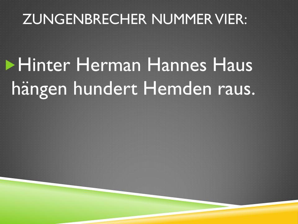 ZUNGENBRECHER NUMMER VIER: Hinter Herman Hannes Haus hängen hundert Hemden raus.