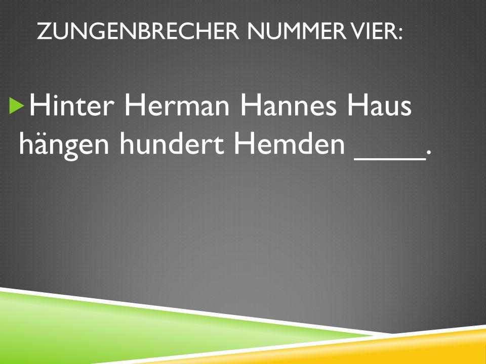 ZUNGENBRECHER NUMMER VIER: Hinter Herman Hannes Haus hängen hundert Hemden ____.