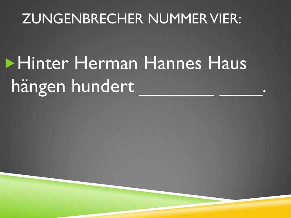ZUNGENBRECHER NUMMER VIER: Hinter Herman Hannes Haus hängen hundert _______ ____.