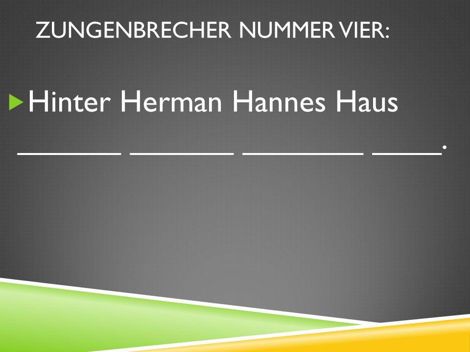 ZUNGENBRECHER NUMMER VIER: Hinter Herman Hannes Haus ______ ______ _______ ____.