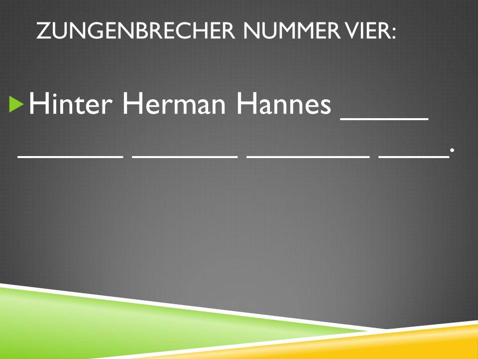 ZUNGENBRECHER NUMMER VIER: Hinter Herman Hannes _____ ______ ______ _______ ____.
