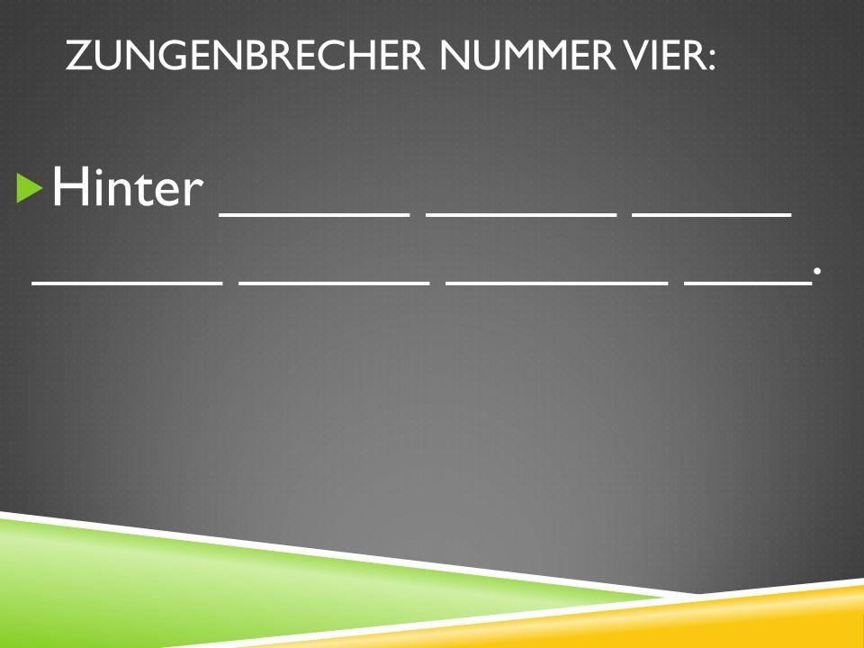 ZUNGENBRECHER NUMMER VIER: Hinter ______ ______ _____ ______ ______ _______ ____.