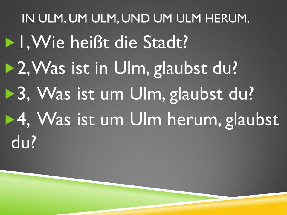 IN ULM, UM ULM, UND UM ULM HERUM.1, Wie heißt die Stadt.