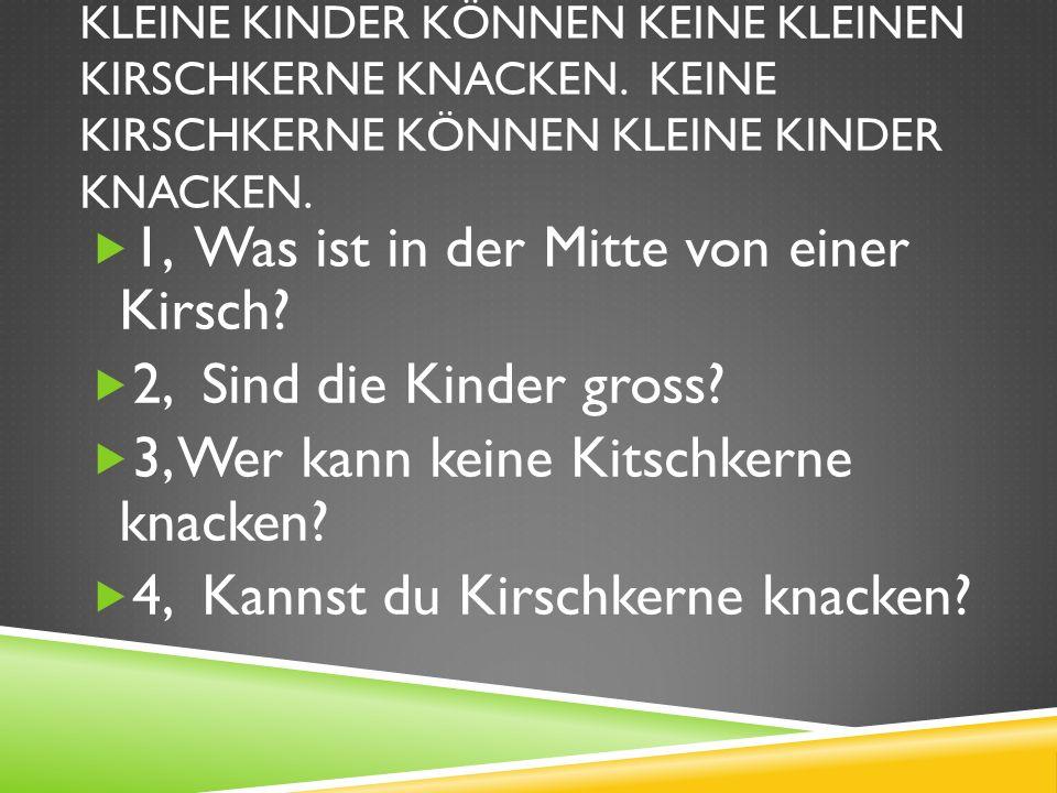 KLEINE KINDER KÖNNEN KEINE KLEINEN KIRSCHKERNE KNACKEN.