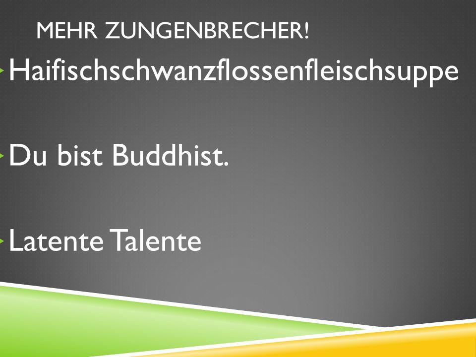 MEHR ZUNGENBRECHER! Haifischschwanzflossenfleischsuppe Du bist Buddhist. Latente Talente