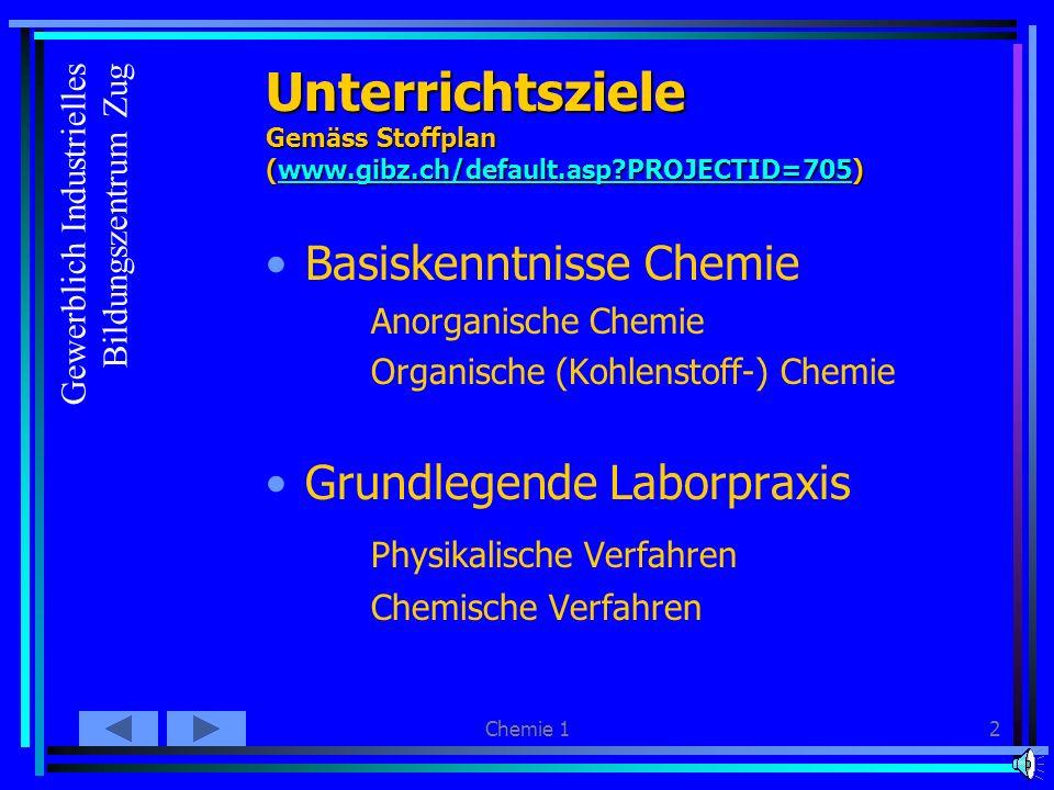 Chemie 12 Unterrichtsziele Gemäss Stoffplan (www.gibz.ch/default.asp?PROJECTID=705) www.gibz.ch/default.asp?PROJECTID=705 Basiskenntnisse Chemie Anorganische Chemie Organische (Kohlenstoff-) Chemie Grundlegende Laborpraxis Physikalische Verfahren Chemische Verfahren Gewerblich Industrielles Bildungszentrum Zug
