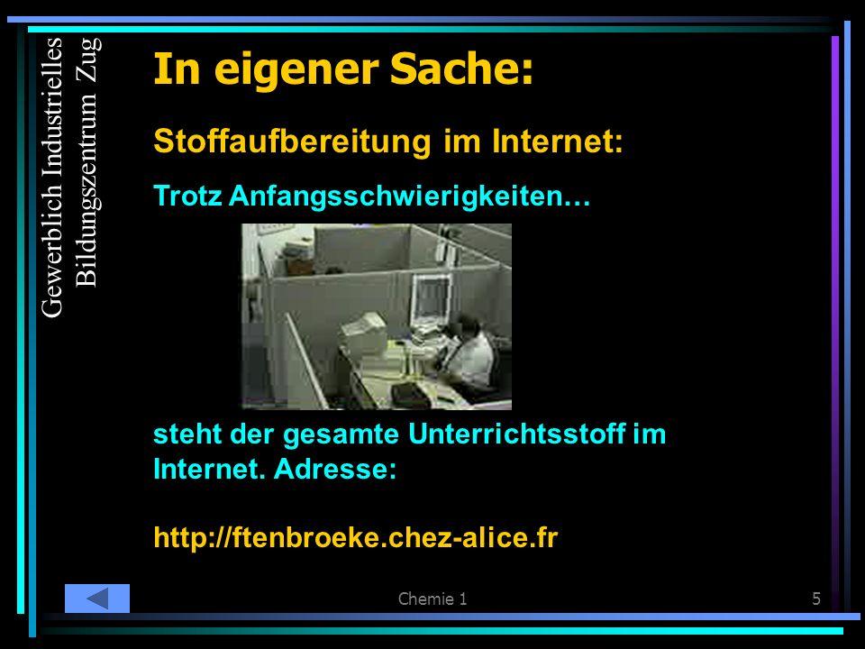 Chemie 15 In eigener Sache: Stoffaufbereitung im Internet: Trotz Anfangsschwierigkeiten… steht der gesamte Unterrichtsstoff im Internet.