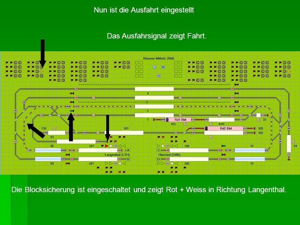 Nun ist die Ausfahrt eingestellt Das Ausfahrsignal zeigt Fahrt. Die Blocksicherung ist eingeschaltet und zeigt Rot + Weiss in Richtung Langenthal.