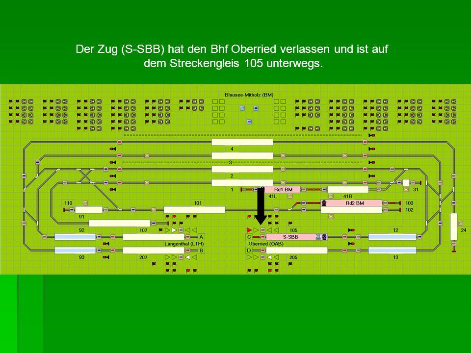 Der Zug (S-SBB) hat den Bhf Oberried verlassen und ist auf dem Streckengleis 105 unterwegs.