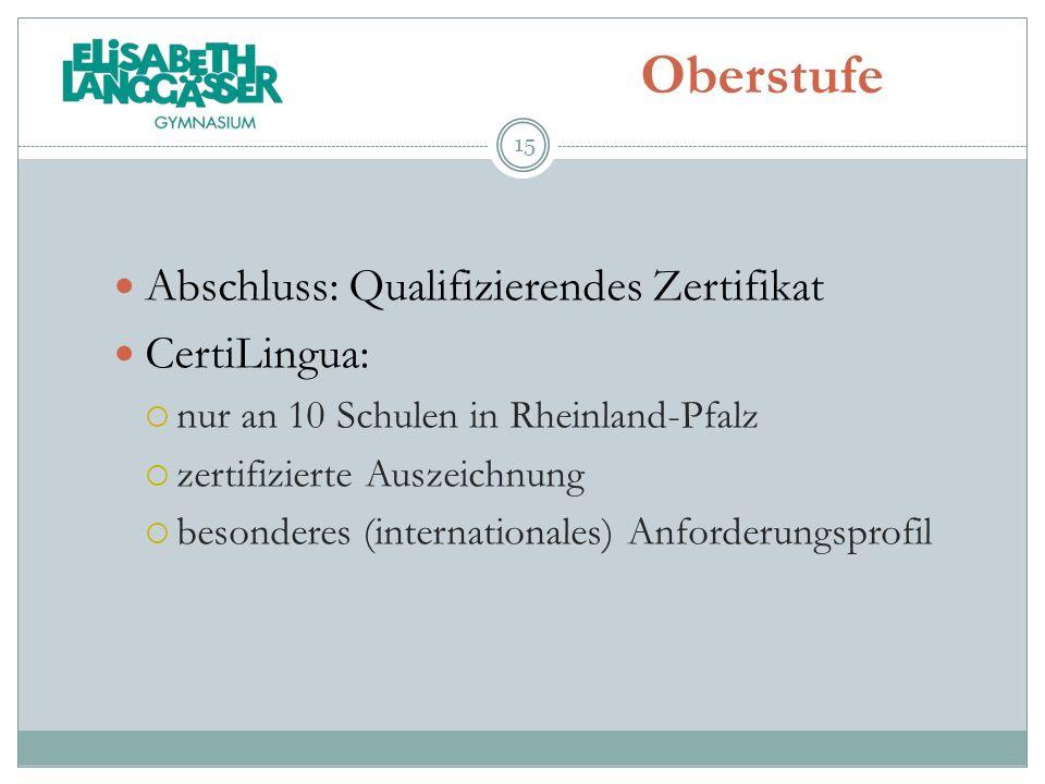 Oberstufe Abschluss: Qualifizierendes Zertifikat CertiLingua: nur an 10 Schulen in Rheinland-Pfalz zertifizierte Auszeichnung besonderes (internationa