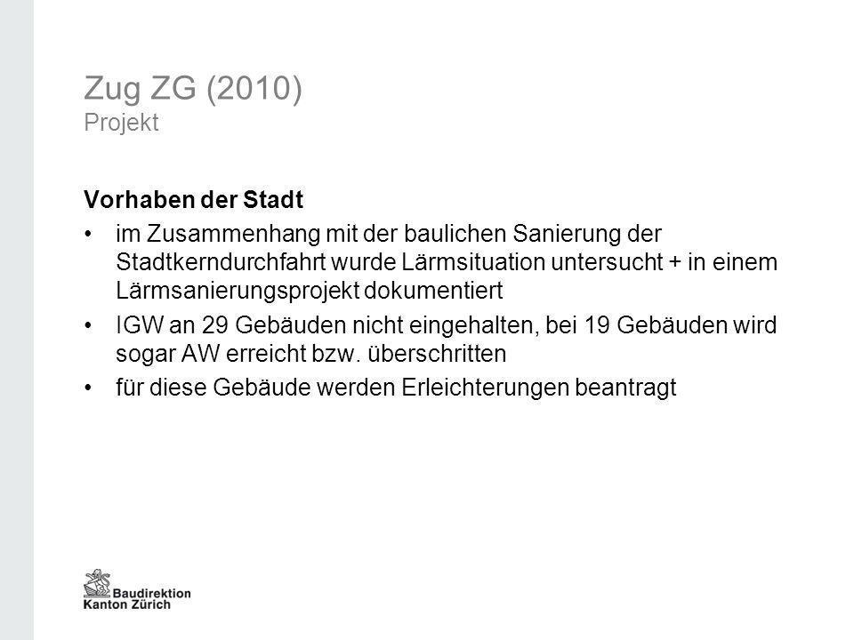 Zug ZG (2010) Projekt Vorhaben der Stadt im Zusammenhang mit der baulichen Sanierung der Stadtkerndurchfahrt wurde Lärmsituation untersucht + in einem