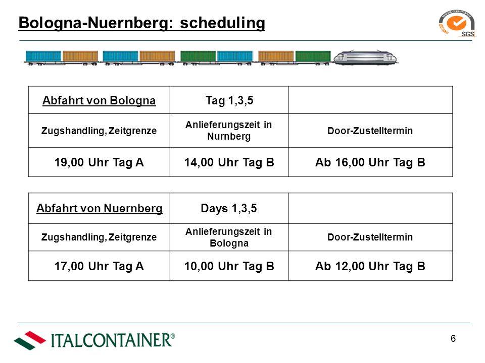 5 Zuege fahren 3 Tage in der Woche im Rundlauf Laenge des Zueges (max.): 540 Mt.