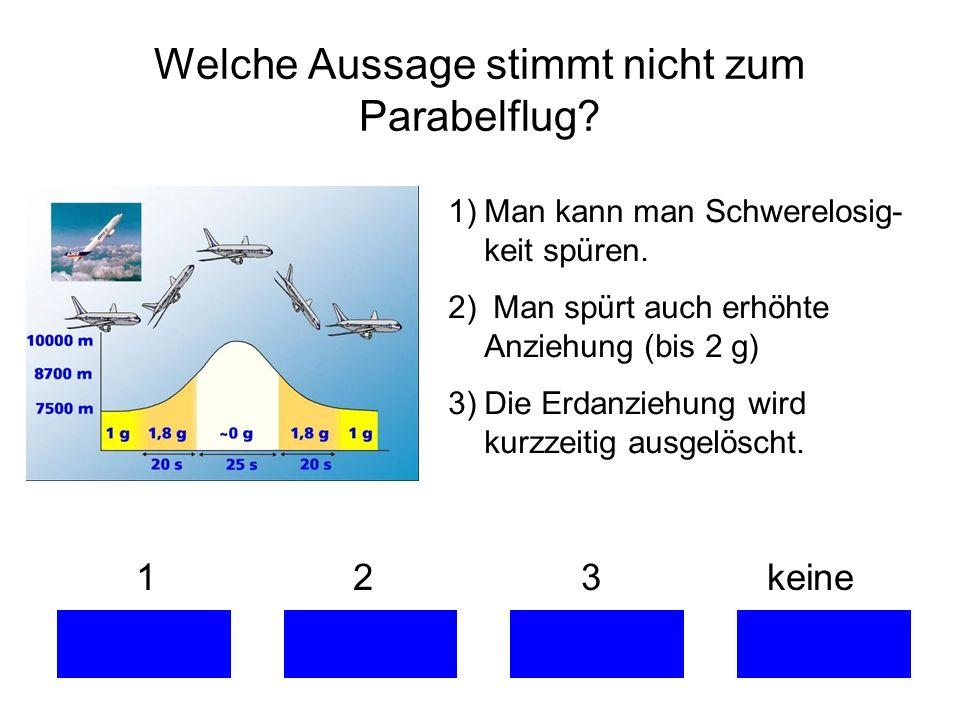 Welche Aussage stimmt nicht zum Parabelflug? 1 2 3 keine 1)Man kann man Schwerelosig- keit spüren. 2) Man spürt auch erhöhte Anziehung (bis 2 g) 3)Die
