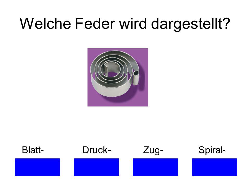 Welche Feder wird dargestellt? Blatt- Druck- Zug- Spiral-
