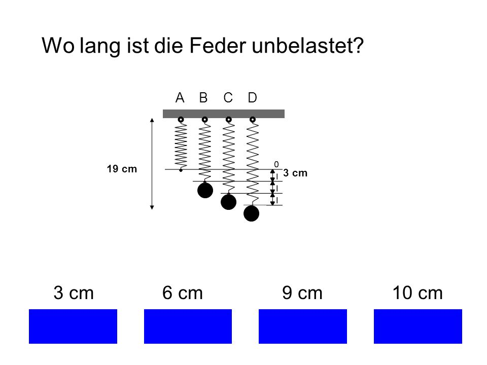 Wo lang ist die Feder unbelastet? 3 cm 6 cm 9 cm 10 cm A B C D 3 cm 19 cm