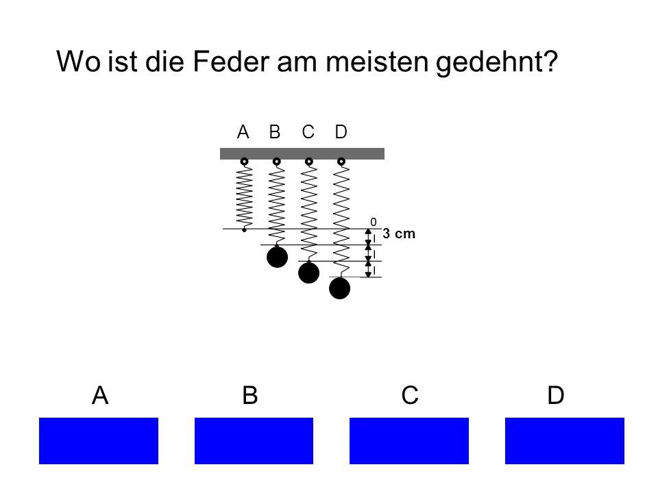 Wo ist die Feder am meisten gedehnt? A B C D 3 cm