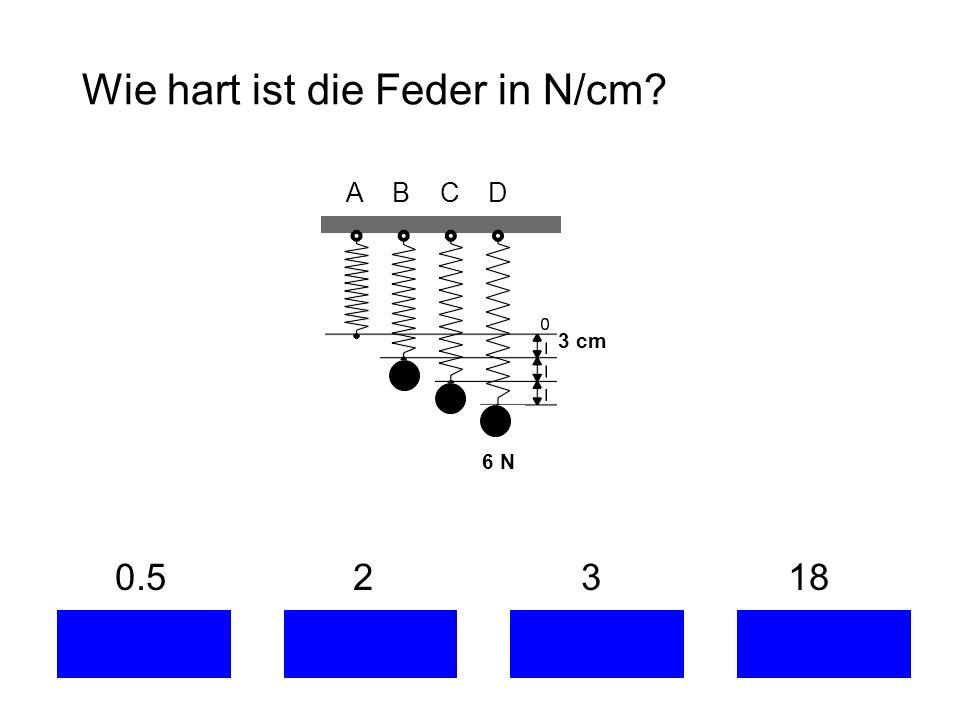 Wie hart ist die Feder in N/cm? 0.5 2 3 18 A B C D 3 cm 6 N