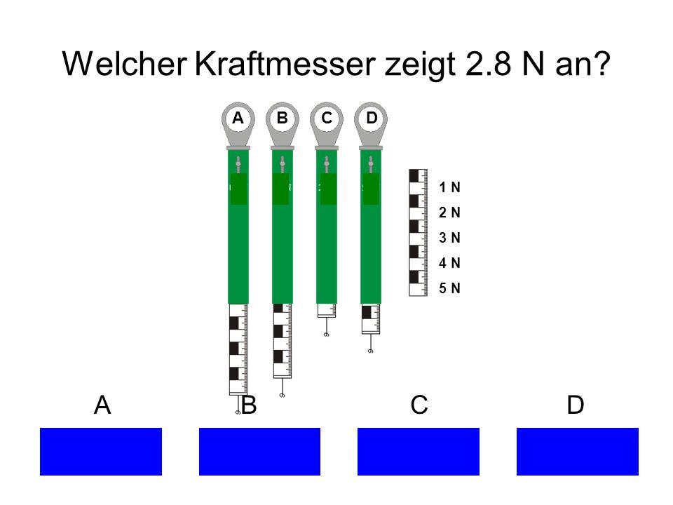 Welcher Kraftmesser zeigt 2.8 N an? A B C D 1 N 2 N 3 N 4 N 5 N A B C D