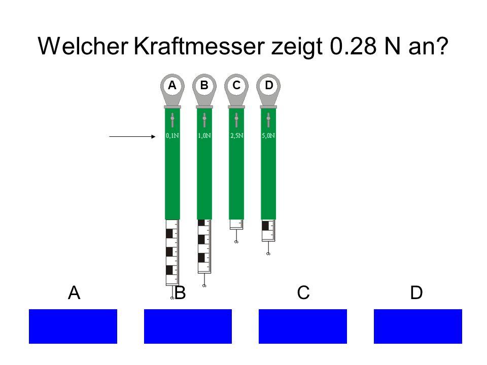 Welcher Kraftmesser zeigt 0.28 N an? A B C D