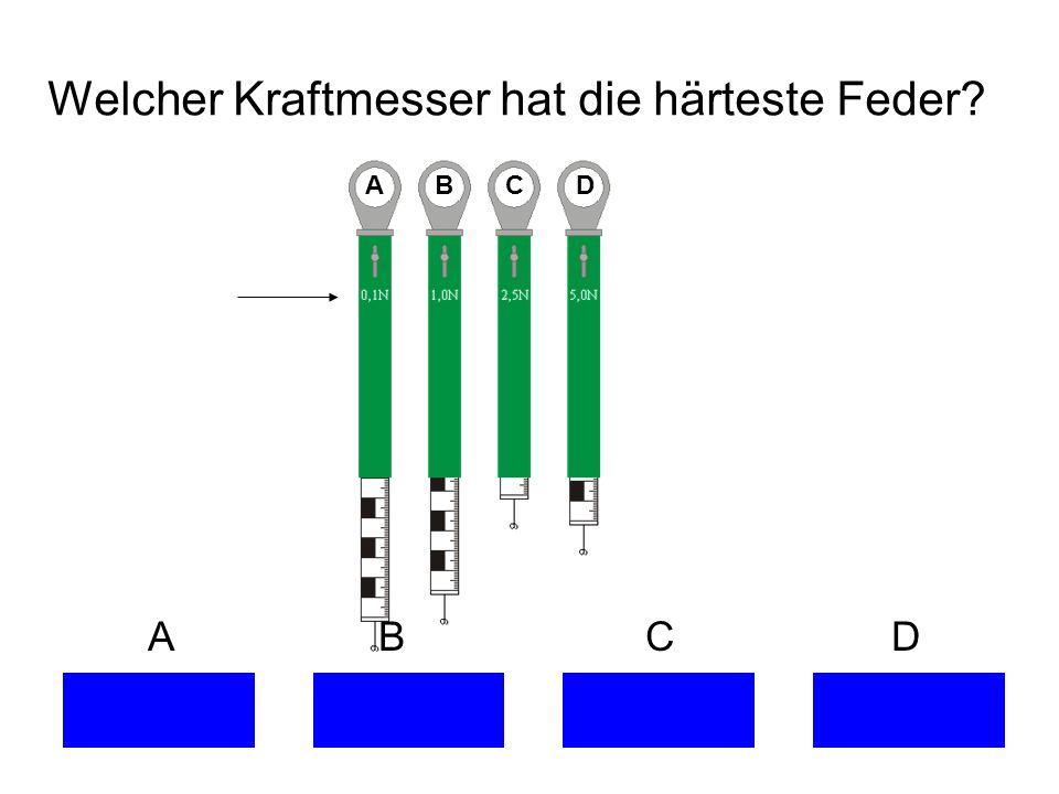 Welcher Kraftmesser hat die härteste Feder? A B C D
