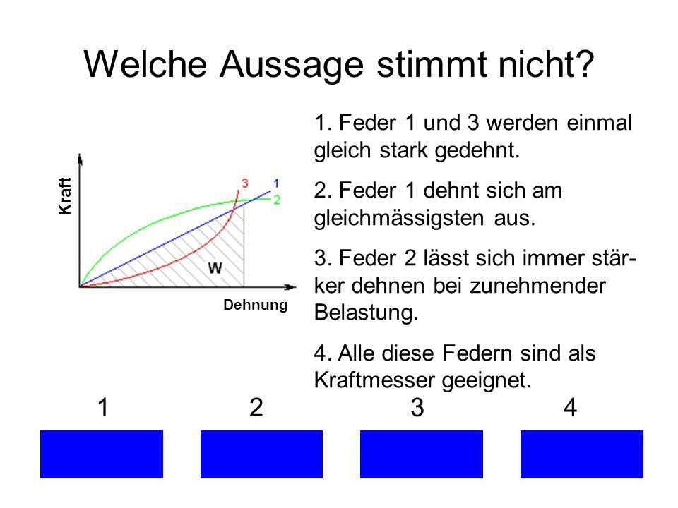 Welche Aussage stimmt nicht? 1 2 3 4 Dehnung Kraft 1. Feder 1 und 3 werden einmal gleich stark gedehnt. 2. Feder 1 dehnt sich am gleichmässigsten aus.