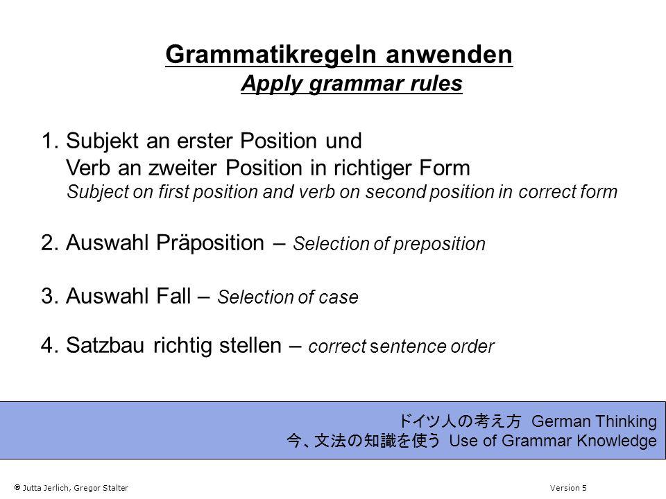 Jutta Jerlich, Gregor Stalter Version 5 German Thinking Use of Grammar Knowledge 1.
