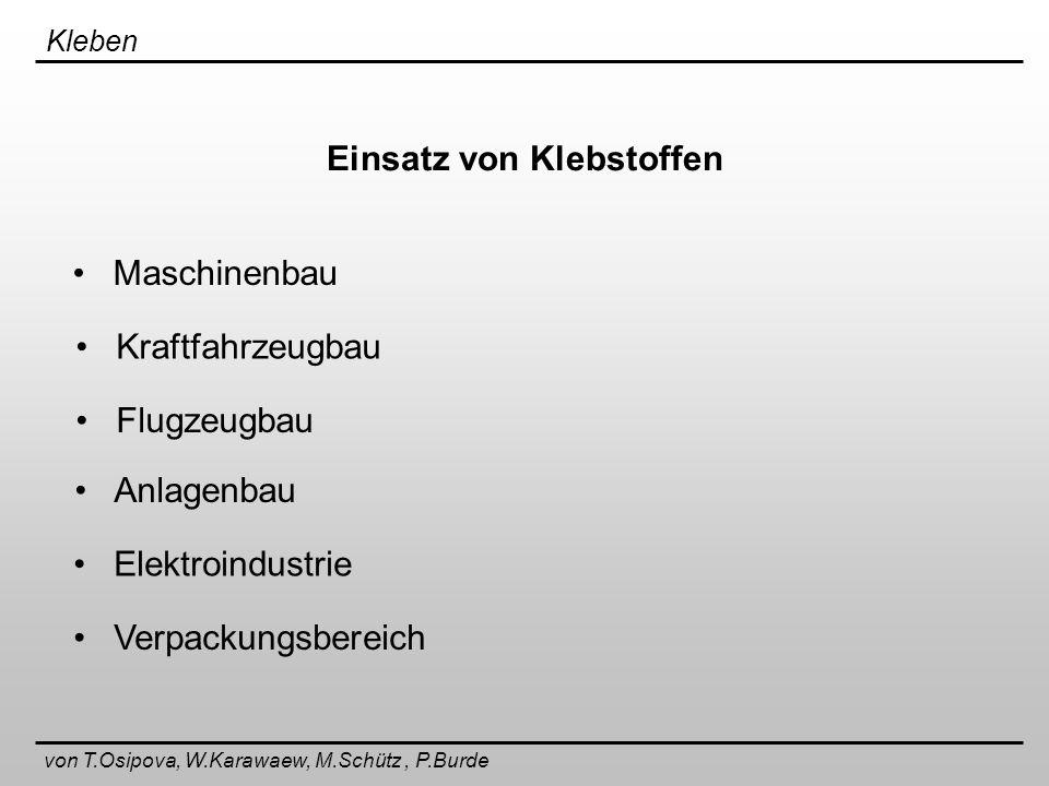 Kleben von T.Osipova, W.Karawaew, M.Schütz, P.Burde Allgemeine Gestaltungsregeln + - - + -