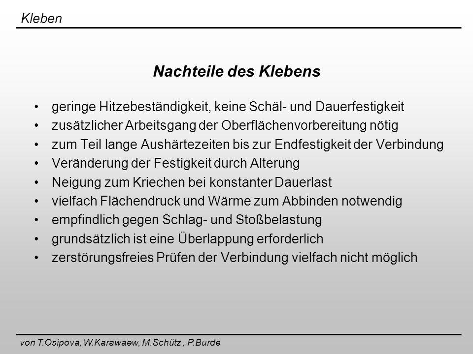 Kleben von T.Osipova, W.Karawaew, M.Schütz, P.Burde Stoßarten beim Schweißen
