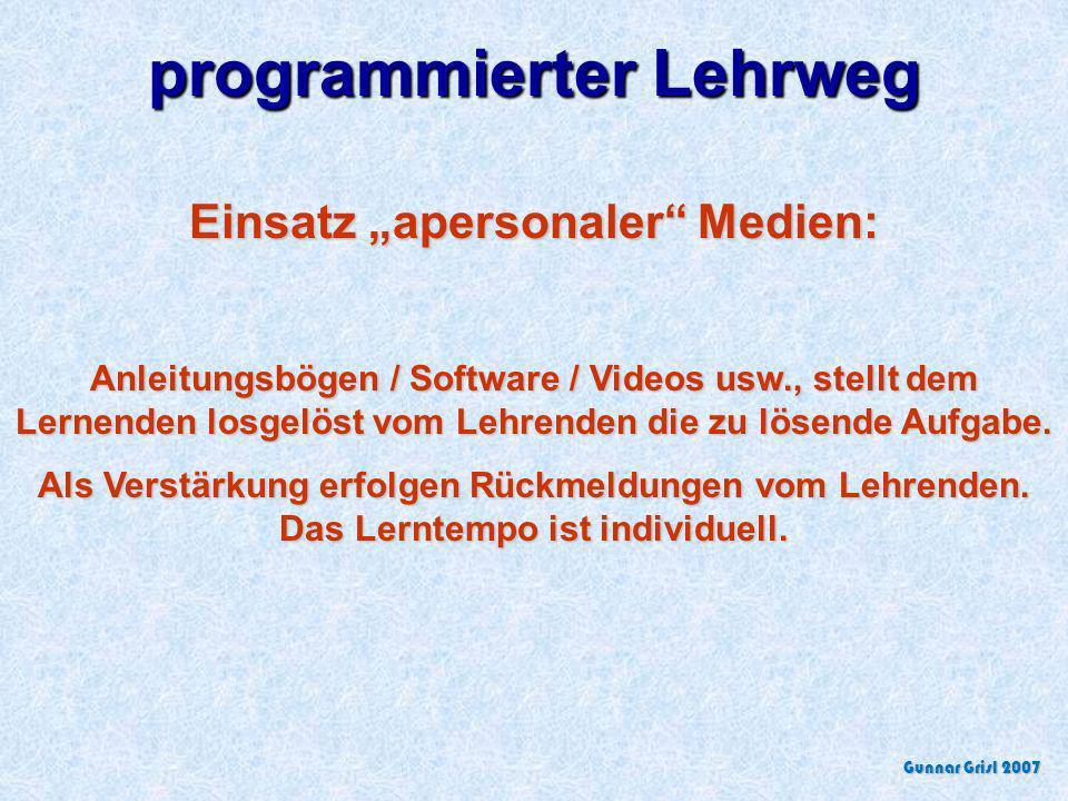 Kombinierte Ganzheits- / Teil- bzw. Teil-/Ganzheitsmethode Alternierender Einsatz der genannten Methoden Gunnar Grisl 2007