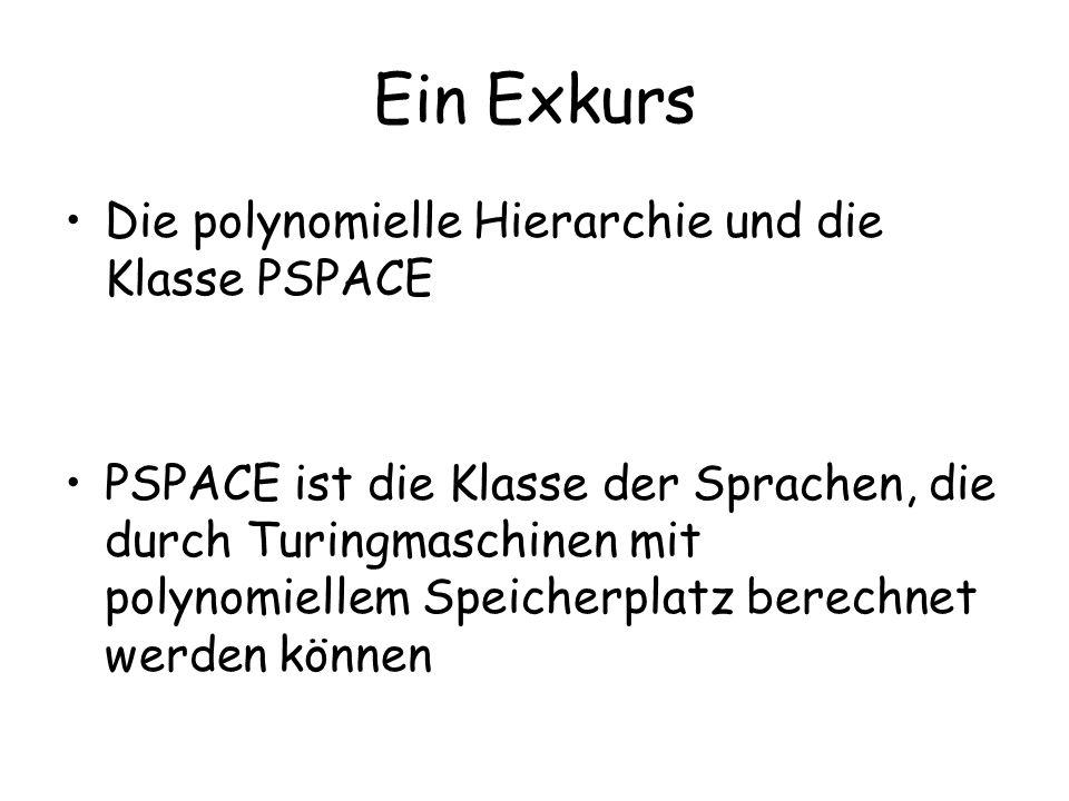 Ein Exkurs Die polynomielle Hierarchie und die Klasse PSPACE PSPACE ist die Klasse der Sprachen, die durch Turingmaschinen mit polynomiellem Speicherplatz berechnet werden können