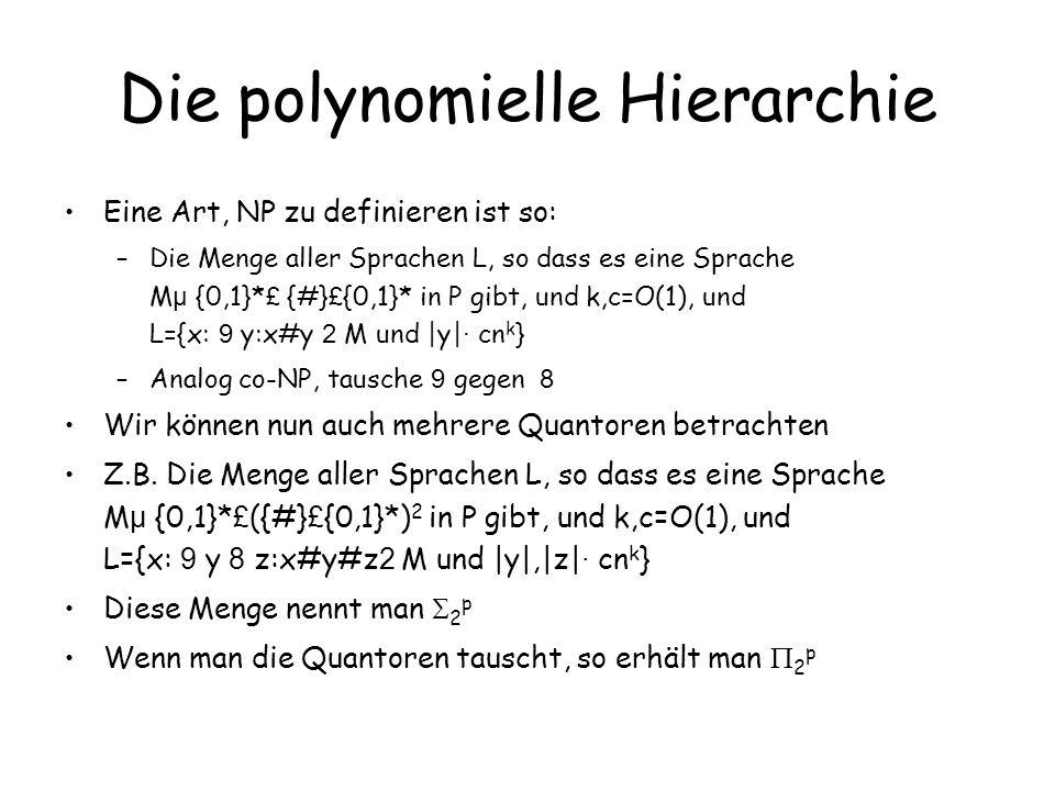 Die polynomielle Hierarchie Es ist 0 p = 0 p =P 1 p =NP; 1 p =co-NP j p ist die Menge aller Sprachen L: es gibt eine Sprache M aus j-1 p, und L={x: 9 y:x#y 2 M und  y  · cn k }
