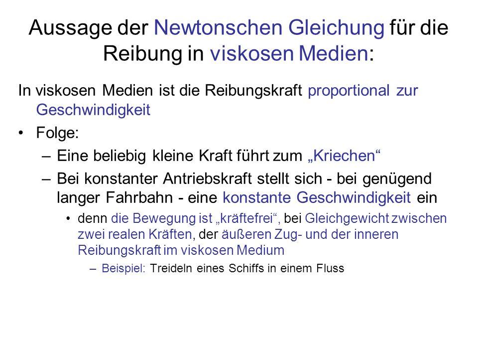 Aussage der Newtonschen Gleichung für die Reibung in viskosen Medien: In viskosen Medien ist die Reibungskraft proportional zur Geschwindigkeit Folge:
