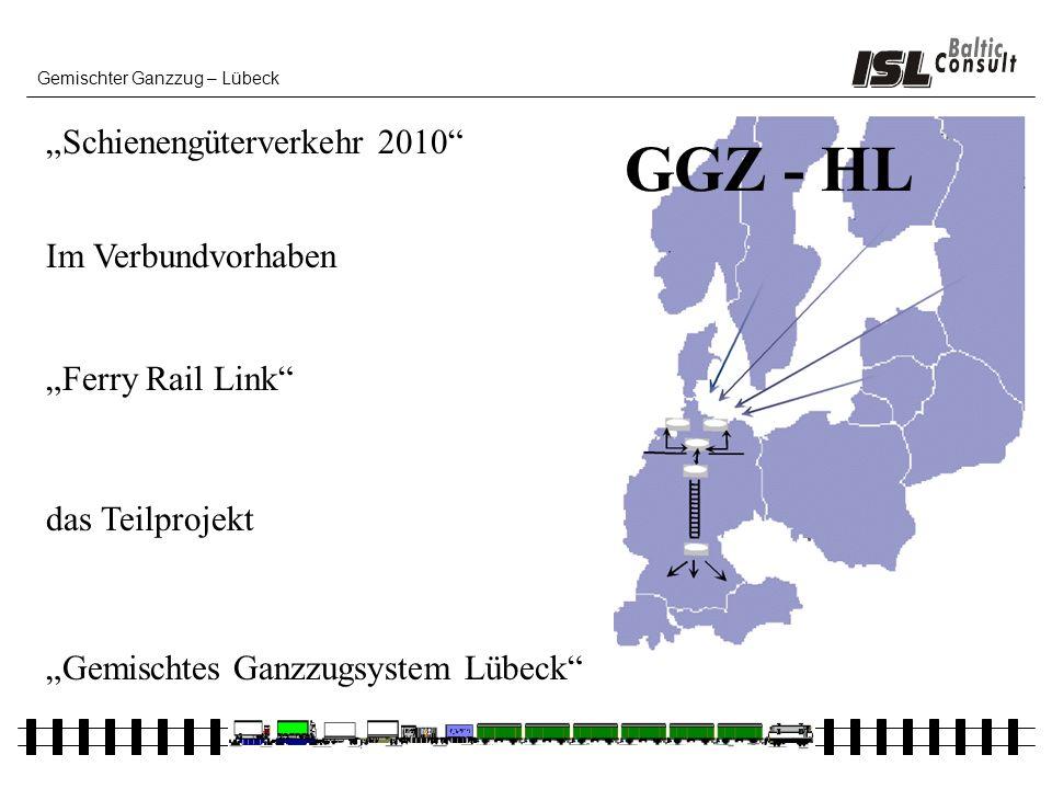 Gemischter Ganzzug – Lübeck Schienengüterverkehr 2010 Im Verbundvorhaben das Teilprojekt Ferry Rail Link Gemischtes Ganzzugsystem Lübeck GGZ - HL