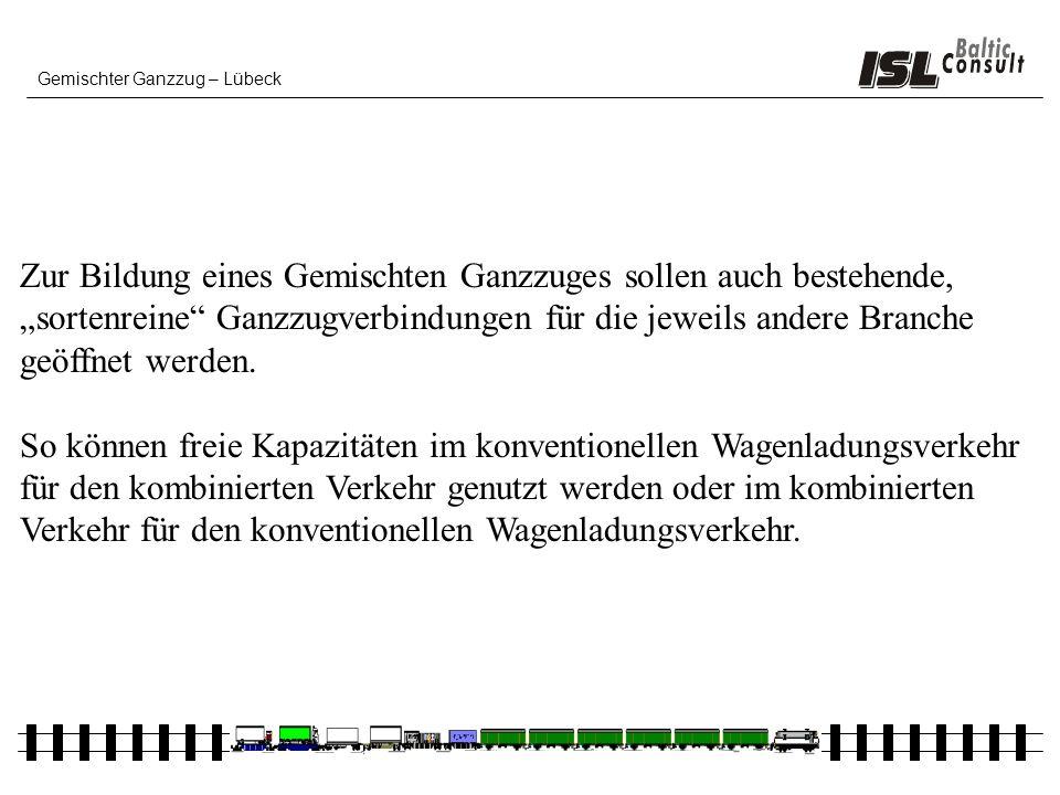Gemischter Ganzzug – Lübeck Zur Bildung eines Gemischten Ganzzuges sollen auch bestehende, sortenreine Ganzzugverbindungen für die jeweils andere Bran