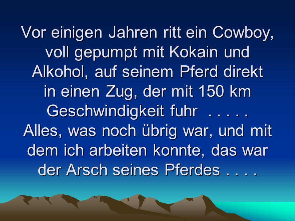 Vor einigen Jahren ritt ein Cowboy, voll gepumpt mit Kokain und Alkohol, auf seinem Pferd direkt in einen Zug, der mit 150 km Geschwindigkeit fuhr....