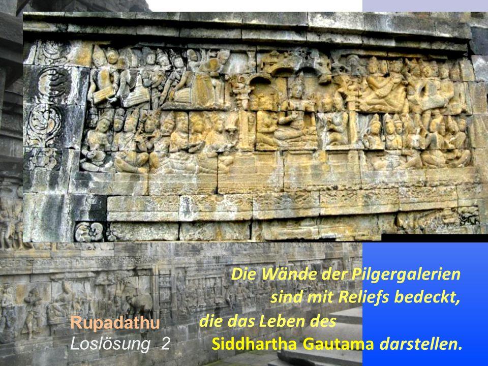Die Wände der Pilgergalerien sind mit Reliefs bedeckt, Rupadathu Loslösung 2 die das Leben des Siddhartha Gautama darstellen.