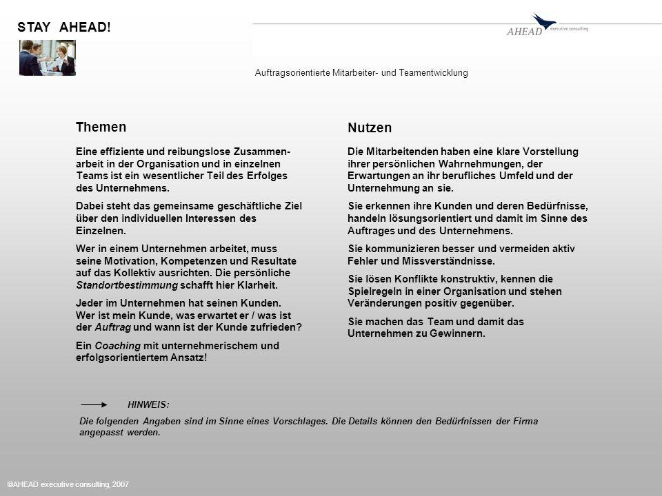 ©AHEAD executive consulting, 2007 Themen Eine effiziente und reibungslose Zusammen- arbeit in der Organisation und in einzelnen Teams ist ein wesentli