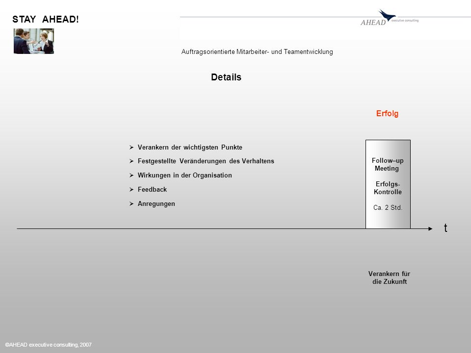©AHEAD executive consulting, 2007 t STAY AHEAD. Follow–up Meeting Erfolgs- Kontrolle Ca.