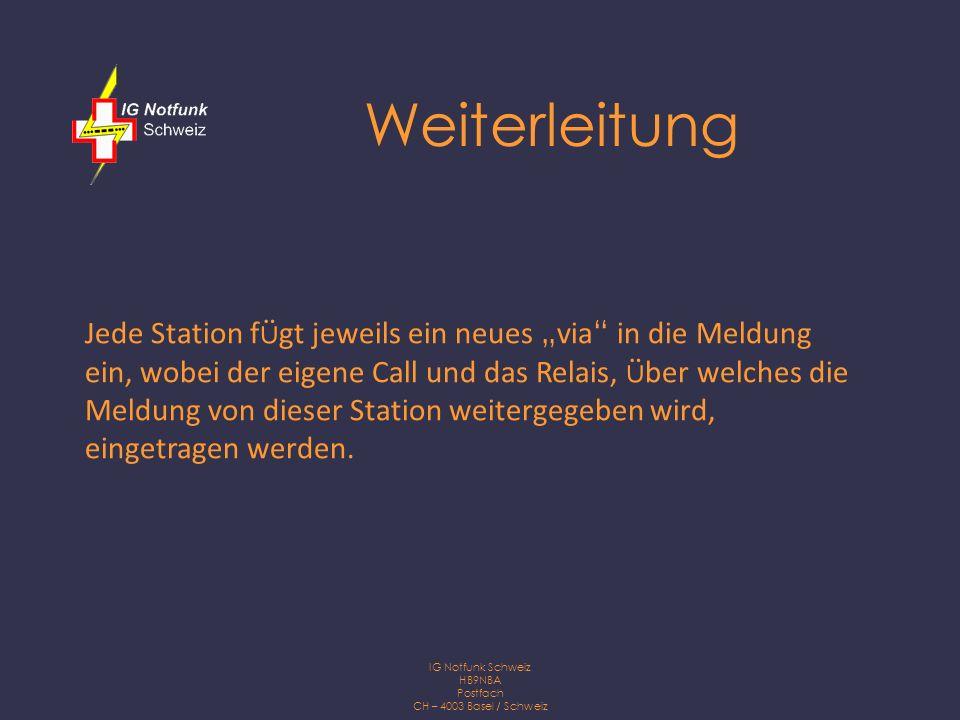 IG Notfunk Schweiz HB9NBA Postfach CH – 4003 Basel / Schweiz Meldung 1.