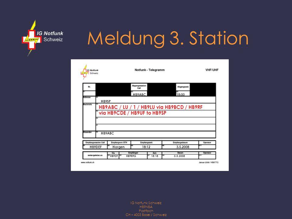 IG Notfunk Schweiz HB9NBA Postfach CH – 4003 Basel / Schweiz Meldung 4.