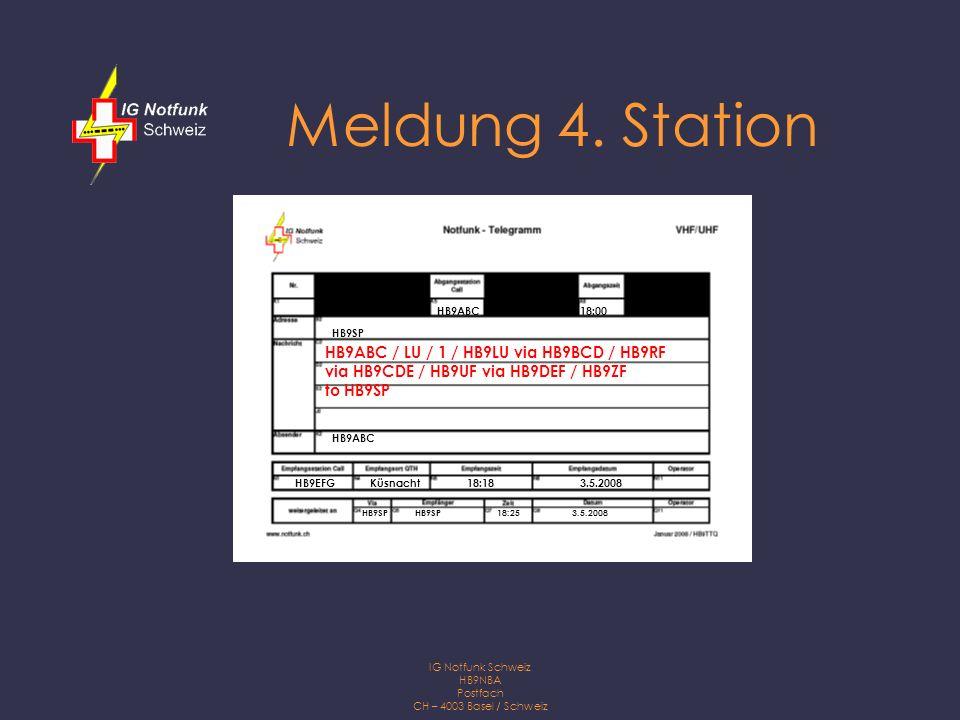 IG Notfunk Schweiz HB9NBA Postfach CH – 4003 Basel / Schweiz Telegrammformulare Die Verwendung eines Telegrammformulars vereinfacht die Logführung und ist zudem ein gutes Ernstfalltraining.