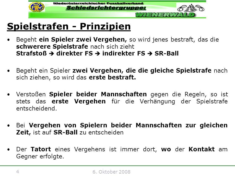 4 6. Oktober 2008 Spielstrafen - Prinzipien Begeht ein Spieler zwei Vergehen, so wird jenes bestraft, das die schwerere Spielstrafe nach sich zieht St