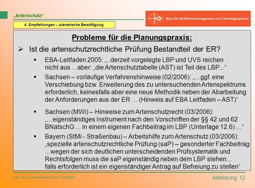 Abbildung 12 Dipl.-Ing. Ronald Meinecke, Potsdam Artenschutz 4. Empfehlungen – planerische Bewältigung Probleme für die Planungspraxis: Ist die artens