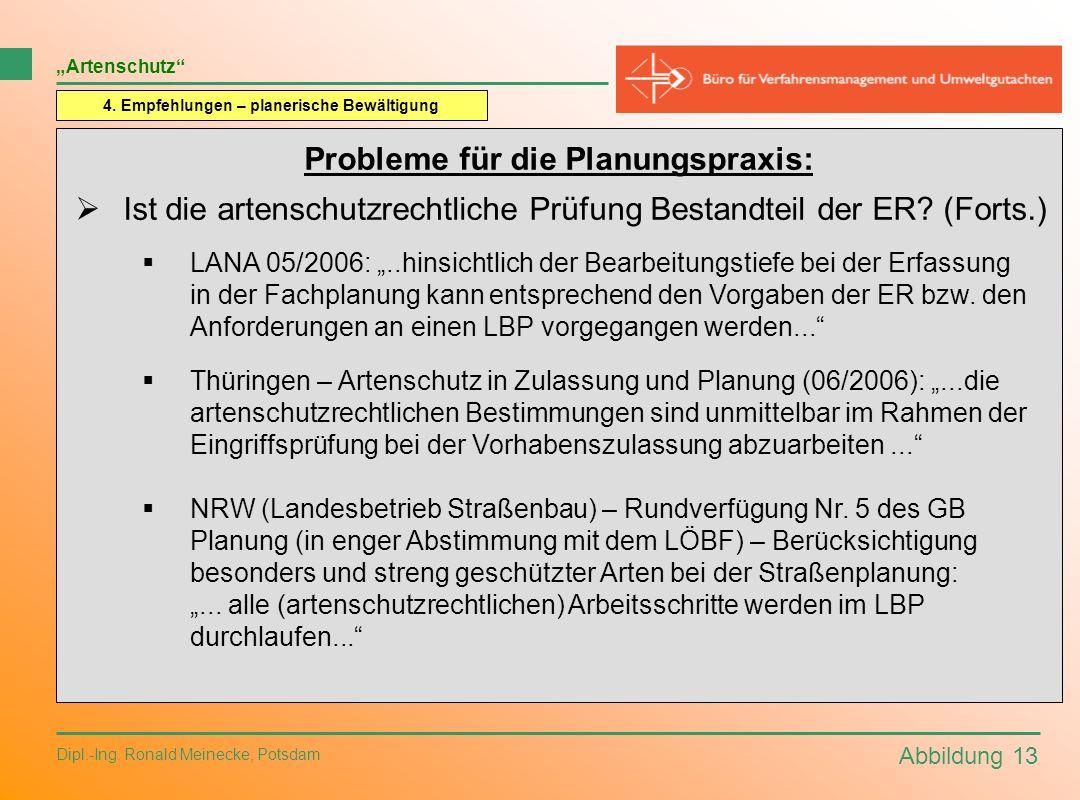 Abbildung 13 Dipl.-Ing. Ronald Meinecke, Potsdam Artenschutz 4. Empfehlungen – planerische Bewältigung Probleme für die Planungspraxis: Ist die artens