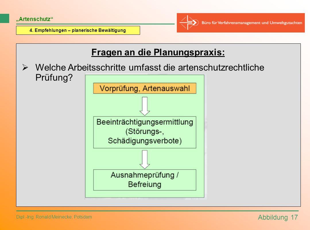 Abbildung 17 Dipl.-Ing. Ronald Meinecke, Potsdam Artenschutz 4. Empfehlungen – planerische Bewältigung Fragen an die Planungspraxis: Welche Arbeitssch